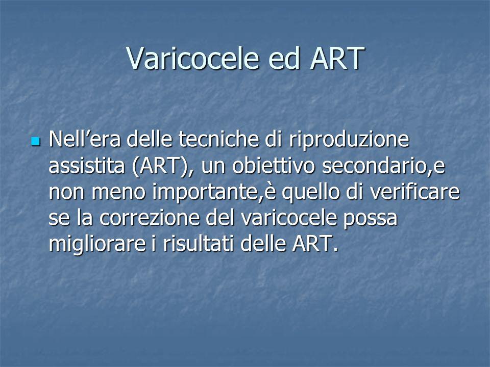 Varicocele ed ART Nellera delle tecniche di riproduzione assistita (ART), un obiettivo secondario,e non meno importante,è quello di verificare se la c