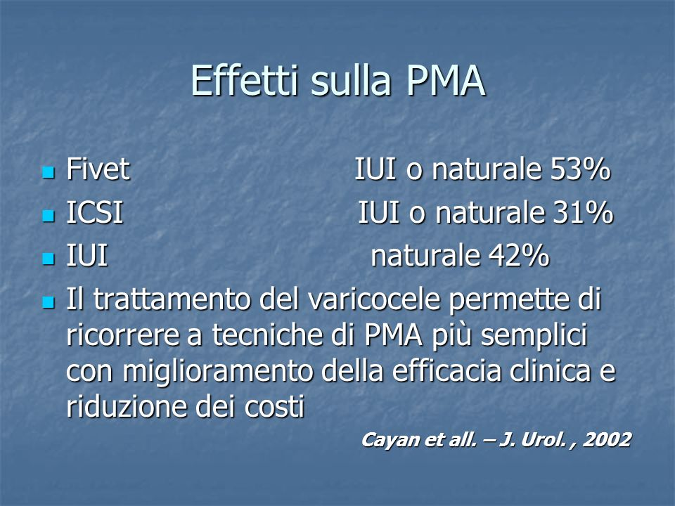 Effetti sulla PMA Fivet IUI o naturale 53% Fivet IUI o naturale 53% ICSI IUI o naturale 31% ICSI IUI o naturale 31% IUI naturale 42% IUI naturale 42%