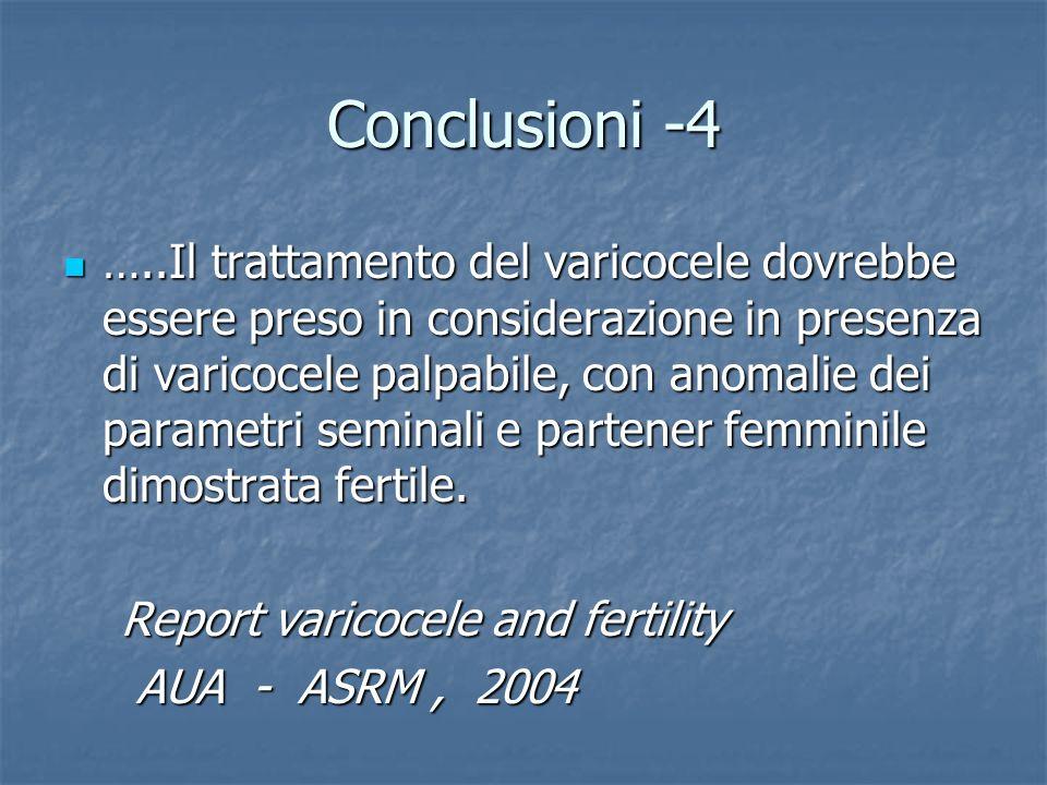 Conclusioni -4 …..Il trattamento del varicocele dovrebbe essere preso in considerazione in presenza di varicocele palpabile, con anomalie dei parametr