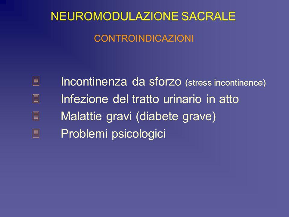 3Incontinenza da sforzo (stress incontinence) 3Infezione del tratto urinario in atto 3Malattie gravi (diabete grave) 3Problemi psicologici NEUROMODULA