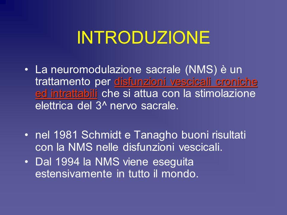INTRODUZIONE disfunzioni vescicali croniche ed intrattabiliLa neuromodulazione sacrale (NMS) è un trattamento per disfunzioni vescicali croniche ed in