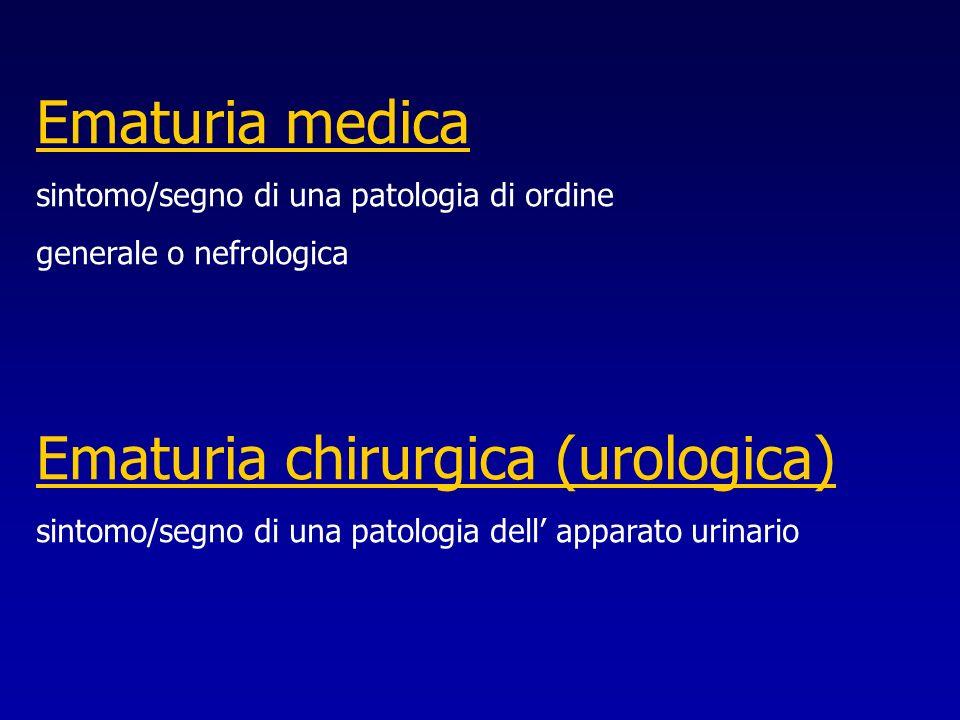 Ematuria medica sintomo/segno di una patologia di ordine generale o nefrologica Ematuria chirurgica (urologica) sintomo/segno di una patologia dell ap