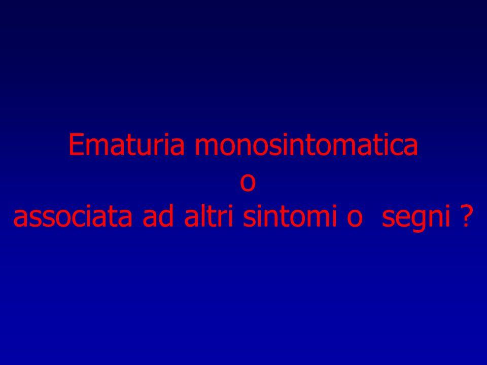 Ematuria monosintomatica o associata ad altri sintomi o segni ?