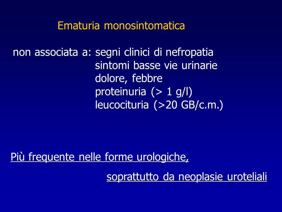 Ematuria monosintomatica non associata a: segni clinici di nefropatia sintomi basse vie urinarie dolore, febbre proteinuria (> 1 g/l) leucocituria (>2
