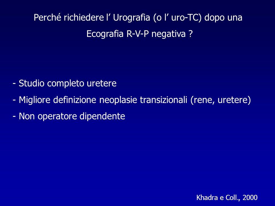 Perché richiedere l Urografia (o l uro-TC) dopo una Ecografia R-V-P negativa ? - Studio completo uretere - Migliore definizione neoplasie transizional
