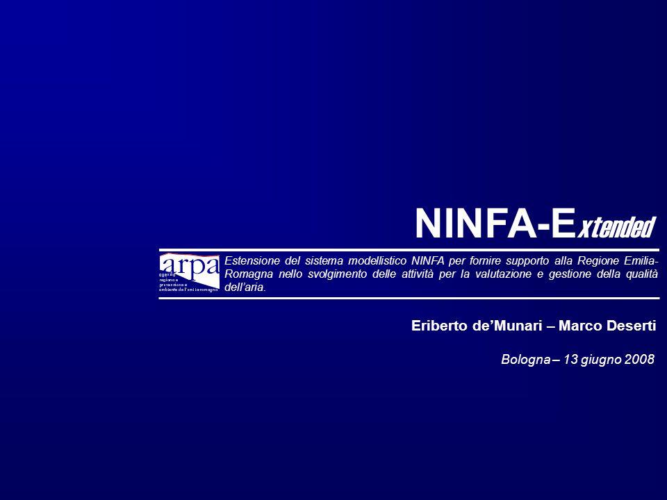 NINFA-E xtended Estensione del sistema modellistico NINFA per fornire supporto alla Regione Emilia- Romagna nello svolgimento delle attività per la valutazione e gestione della qualità dellaria.