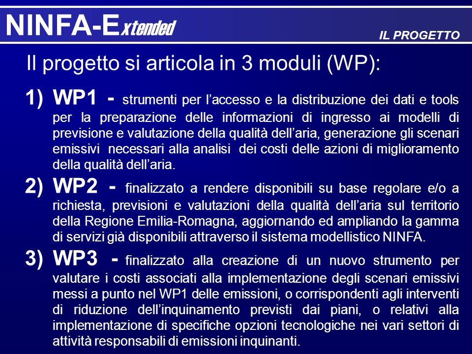 NINFA-E xtended IL PROGETTO 1)WP1 - strumenti per laccesso e la distribuzione dei dati e tools per la preparazione delle informazioni di ingresso ai m