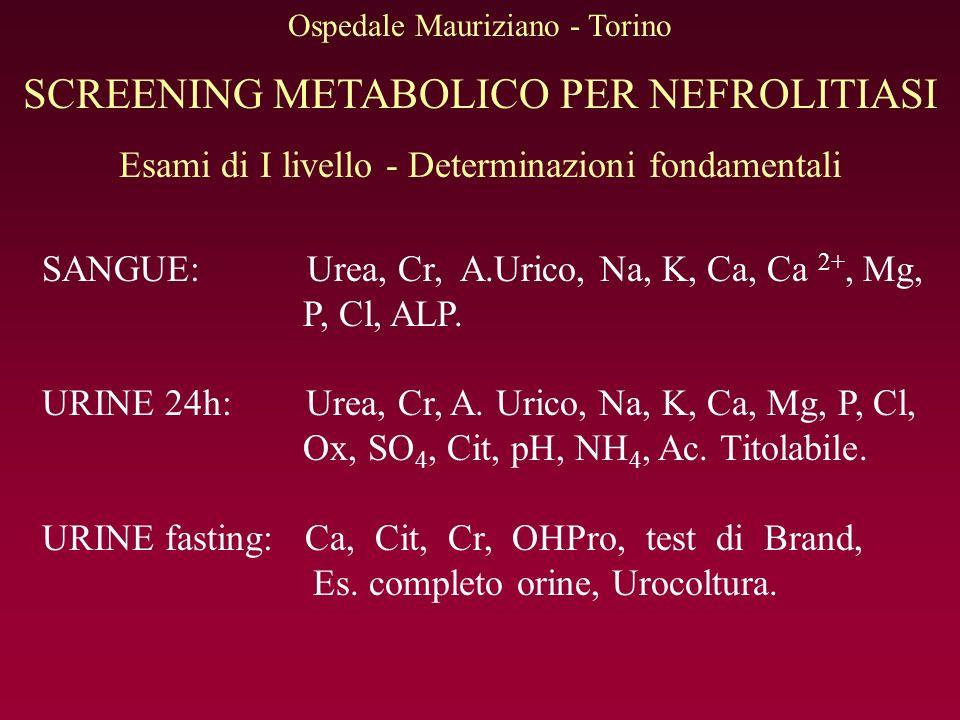 SCREENING METABOLICO PER NEFROLITIASI Esami di I livello - Determinazioni fondamentali SANGUE: Urea, Cr, A.Urico, Na, K, Ca, Ca 2+, Mg, P, Cl, ALP.