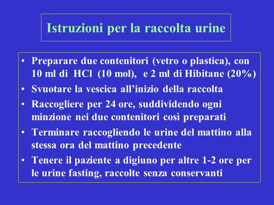 Istruzioni per la raccolta urine Preparare due contenitori (vetro o plastica), con 10 ml di HCl (10 mol), e 2 ml di Hibitane (20%) Svuotare la vescica allinizio della raccolta Raccogliere per 24 ore, suddividendo ogni minzione nei due contenitori così preparati Terminare raccogliendo le urine del mattino alla stessa ora del mattino precedente Tenere il paziente a digiuno per altre 1-2 ore per le urine fasting, raccolte senza conservanti