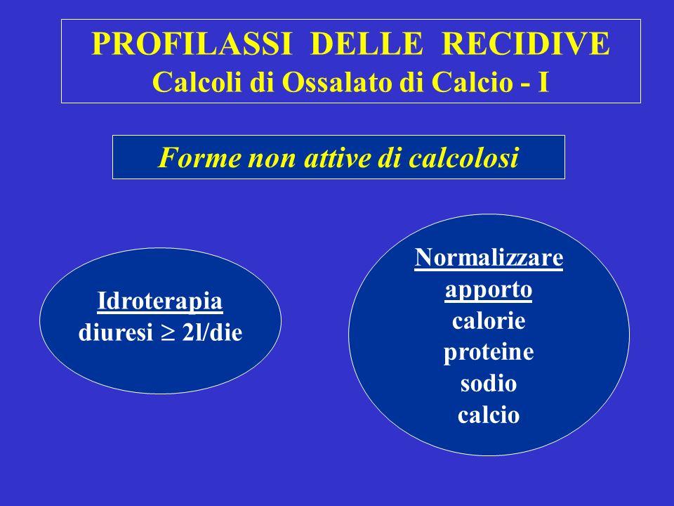 PROFILASSI DELLE RECIDIVE Calcoli di Ossalato di Calcio - I Forme non attive di calcolosi Idroterapia diuresi 2l/die Normalizzare apporto calorie proteine sodio calcio