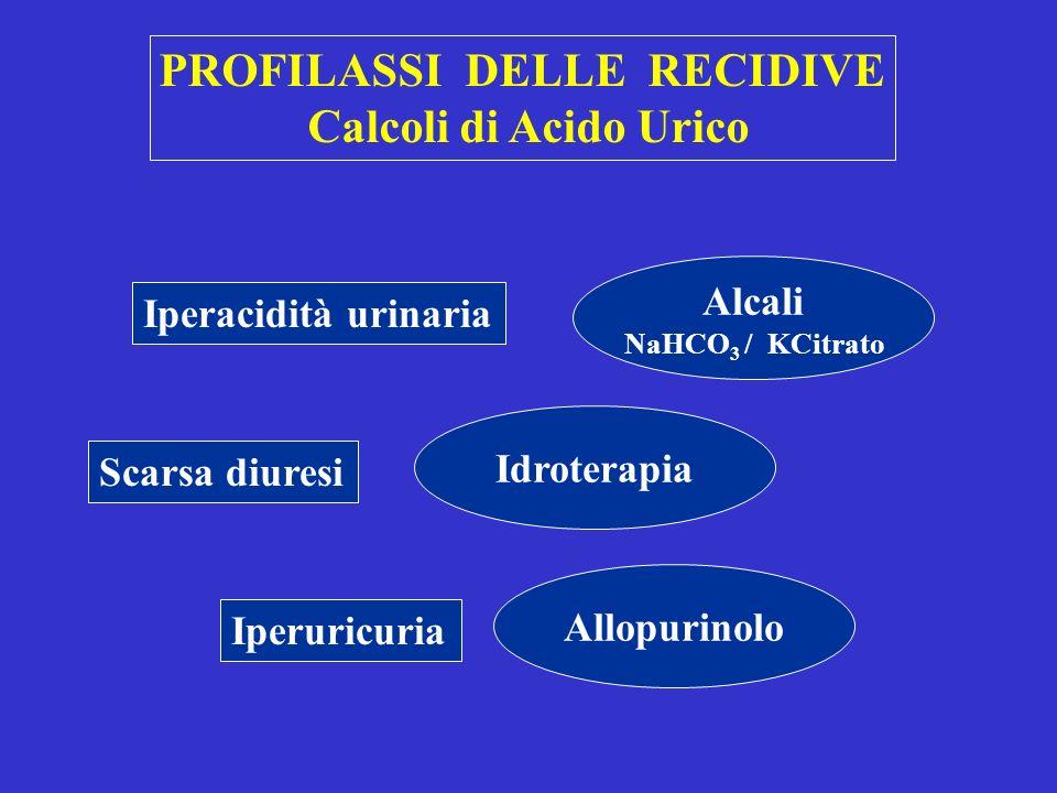 PROFILASSI DELLE RECIDIVE Calcoli di Acido Urico Iperacidità urinaria Scarsa diuresi Iperuricuria Alcali NaHCO 3 / KCitrato Idroterapia Allopurinolo