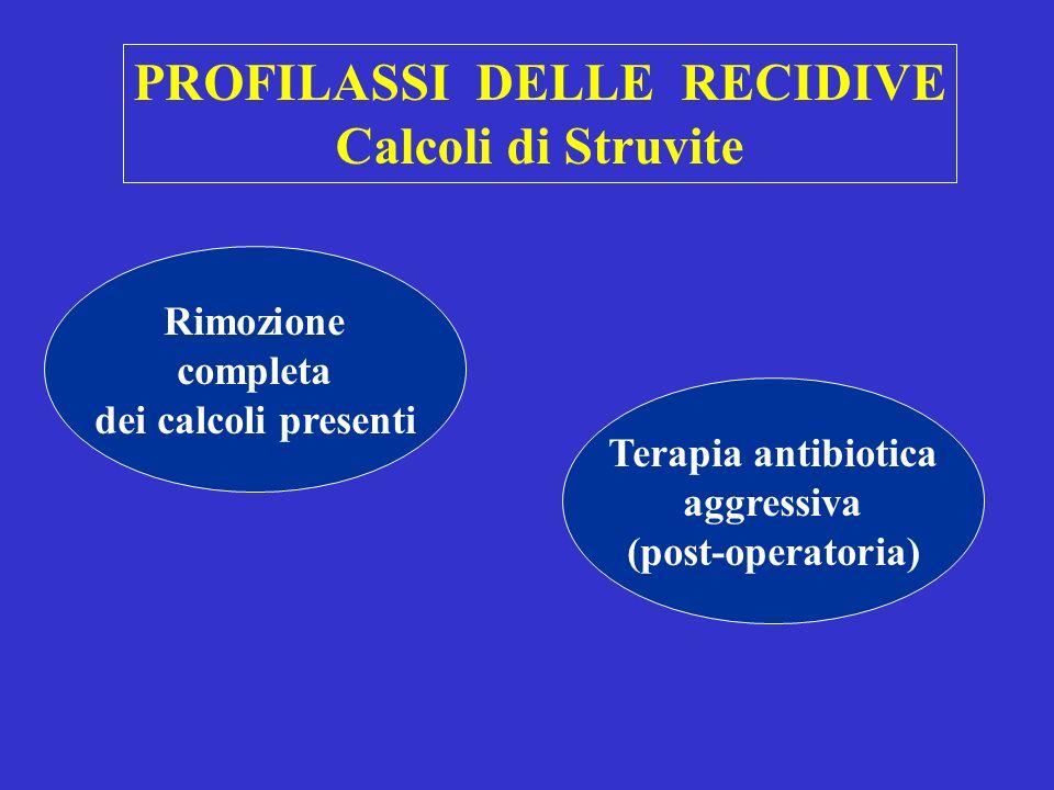 PROFILASSI DELLE RECIDIVE Calcoli di Cistina Idroterapia ( > 3 l / die) dieta ipometioninica Alcalinizzanti ( 7 < upH < 7.5) NaHCO3 / KCitrato Tiolici 6-MPG (750-1500 mg) Penicillamina (450-600 mg)