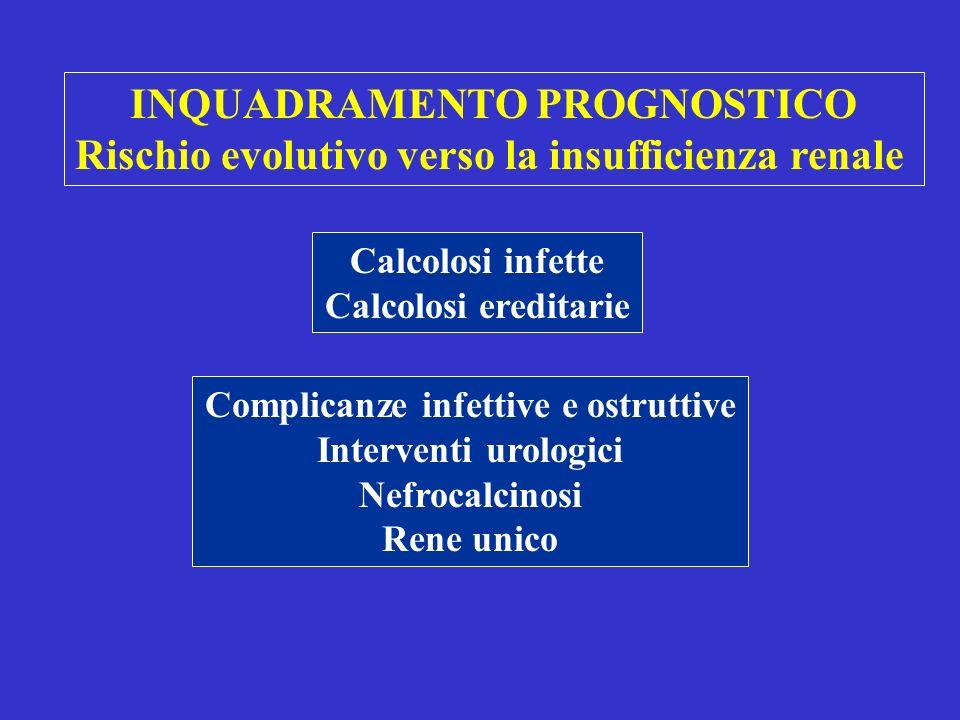 INQUADRAMENTO PROGNOSTICO Rischio evolutivo verso la insufficienza renale Calcolosi infette Calcolosi ereditarie Complicanze infettive e ostruttive Interventi urologici Nefrocalcinosi Rene unico