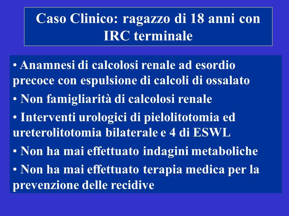 Caso Clinico: ragazzo di 18 anni con IRC terminale Anamnesi di calcolosi renale ad esordio precoce con espulsione di calcoli di ossalato Non famigliar