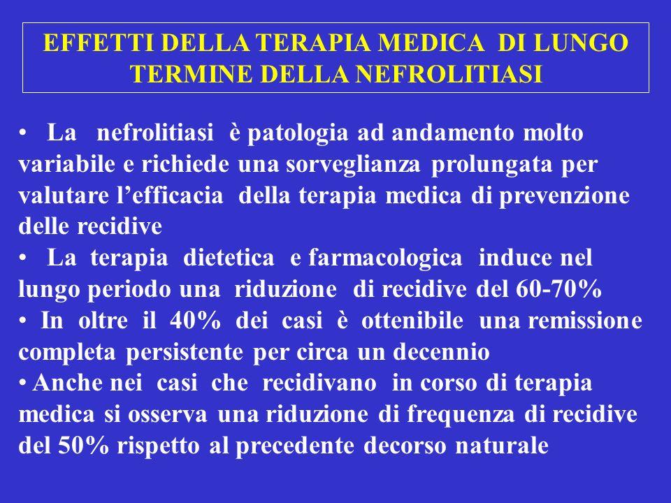 EFFETTI DELLA TERAPIA MEDICA DI LUNGO TERMINE DELLA NEFROLITIASI La nefrolitiasi è patologia ad andamento molto variabile e richiede una sorveglianza