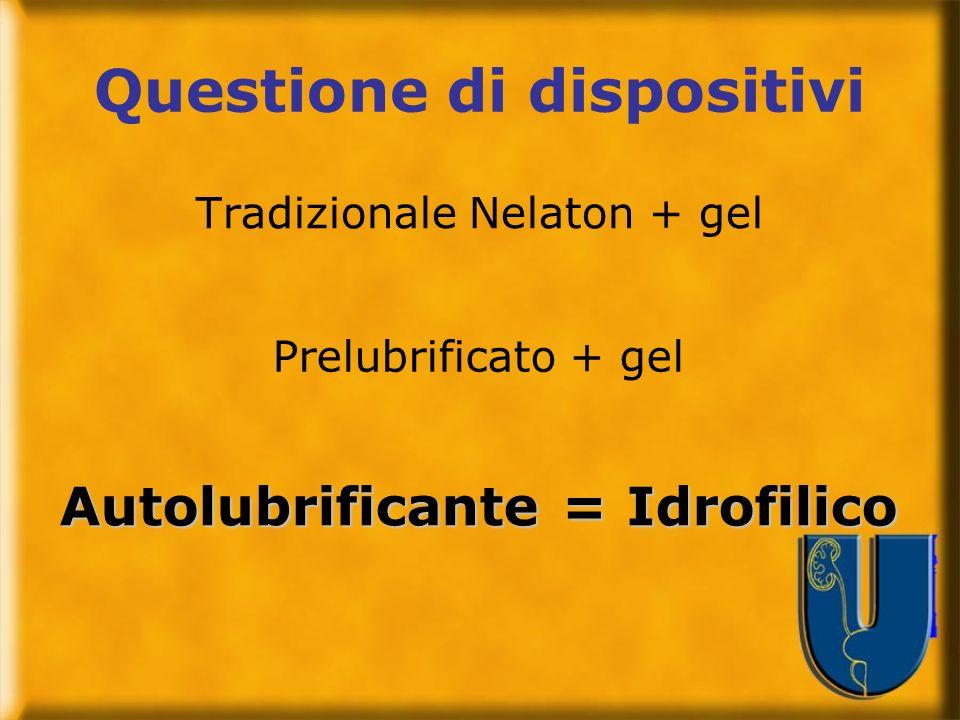 Questione di dispositivi Tradizionale Nelaton + gel Autolubrificante = Idrofilico Prelubrificato + gel