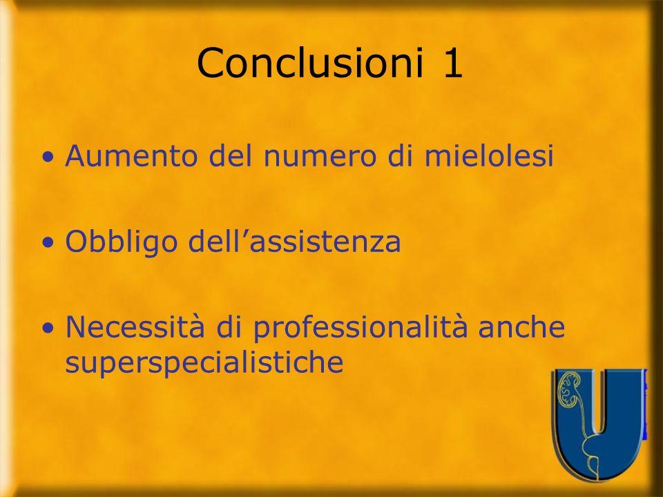 Conclusioni 1 Aumento del numero di mielolesi Obbligo dellassistenza Necessità di professionalità anche superspecialistiche
