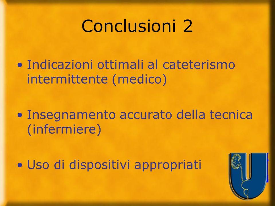 Conclusioni 2 Indicazioni ottimali al cateterismo intermittente (medico) Insegnamento accurato della tecnica (infermiere) Uso di dispositivi appropria