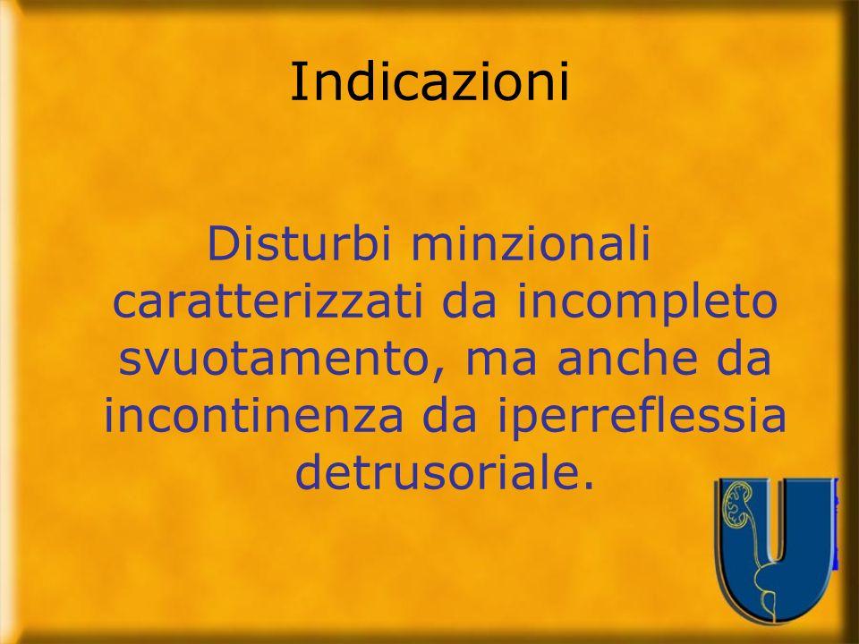 Indicazioni Disturbi minzionali caratterizzati da incompleto svuotamento, ma anche da incontinenza da iperreflessia detrusoriale.