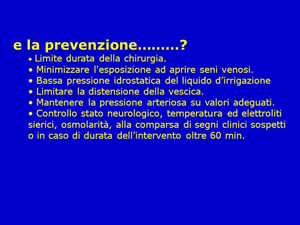 e la prevenzione………? Limite durata della chirurgia. Minimizzare l'esposizione ad aprire seni venosi. Bassa pressione idrostatica del liquido dirrigazi
