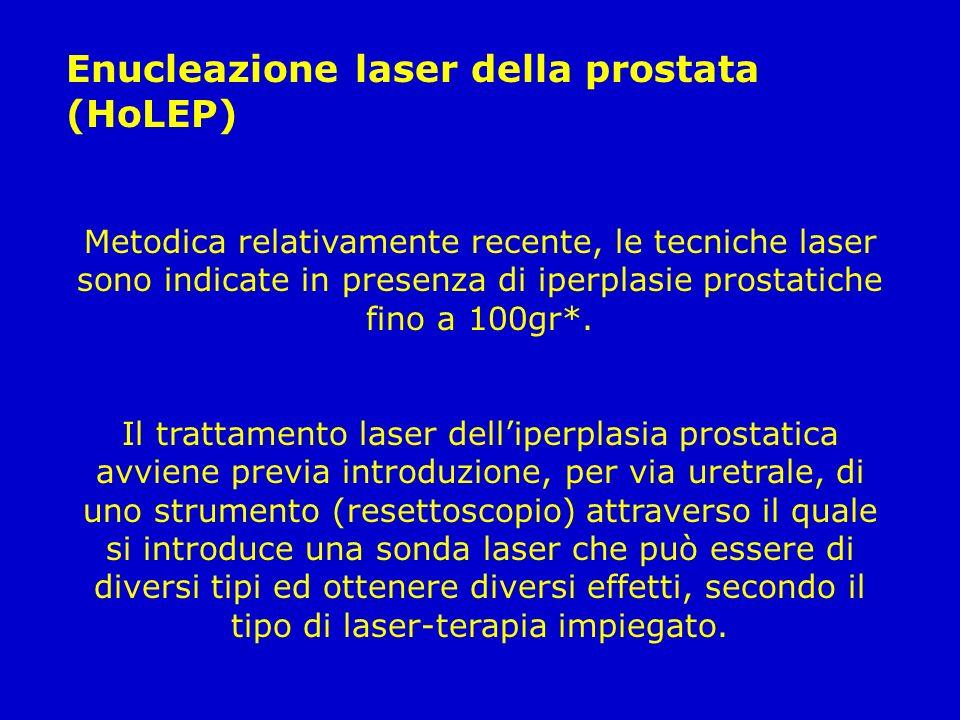 Enucleazione laser della prostata (HoLEP) Metodica relativamente recente, le tecniche laser sono indicate in presenza di iperplasie prostatiche fino a