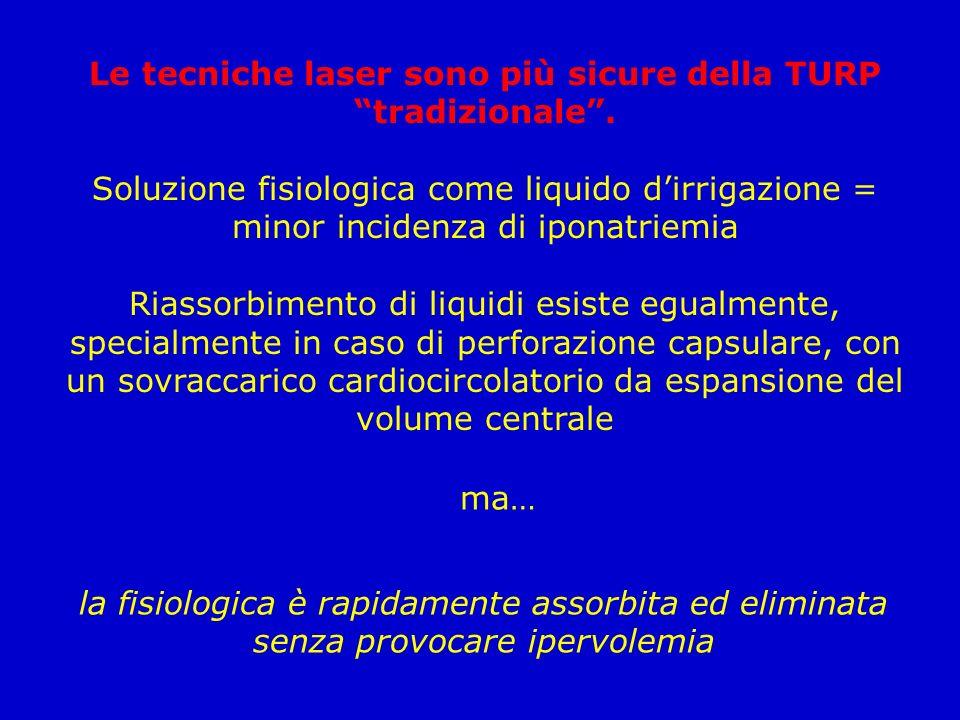 Le tecniche laser sono più sicure della TURP tradizionale. Soluzione fisiologica come liquido dirrigazione = minor incidenza di iponatriemia Riassorbi
