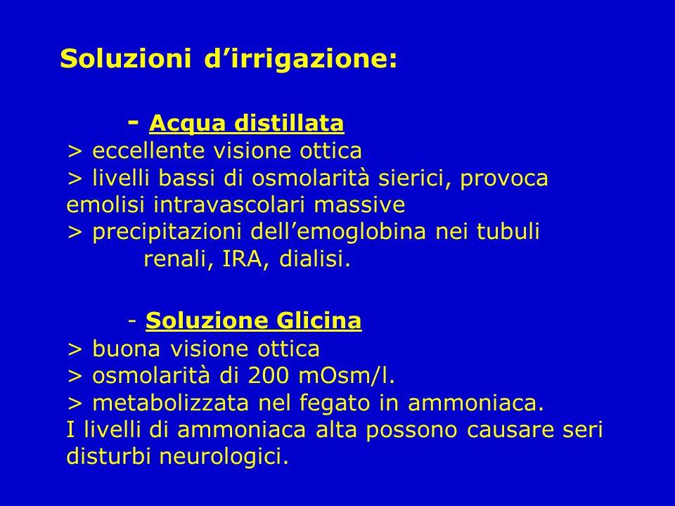 Soluzioni dirrigazione: - Acqua distillata > eccellente visione ottica > livelli bassi di osmolarità sierici, provoca emolisi intravascolari massive >