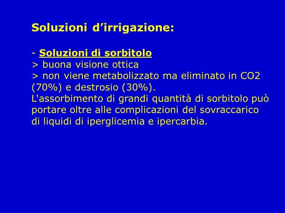 Soluzioni dirrigazione: - Soluzioni di sorbitolo > buona visione ottica > non viene metabolizzato ma eliminato in CO2 (70%) e destrosio (30%). L'assor