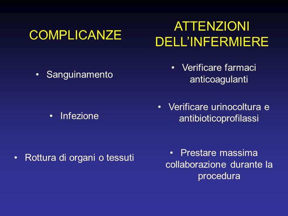 COMPLICANZE Sanguinamento Infezione Rottura di organi o tessuti ATTENZIONI DELLINFERMIERE Verificare farmaci anticoagulanti Verificare urinocoltura e antibioticoprofilassi Prestare massima collaborazione durante la procedura
