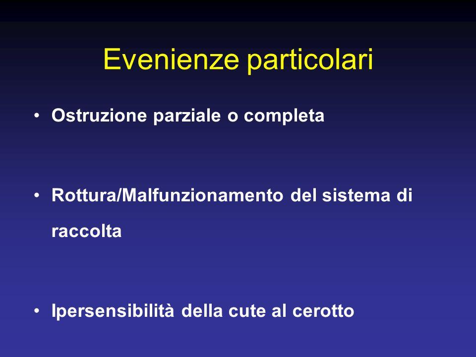 Ostruzione parziale o completa Rottura/Malfunzionamento del sistema di raccolta Ipersensibilità della cute al cerotto Evenienze particolari