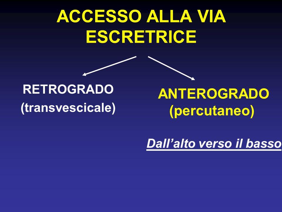 ACCESSO ALLA VIA ESCRETRICE RETROGRADO (transvescicale) ANTEROGRADO (percutaneo) Dallalto verso il basso