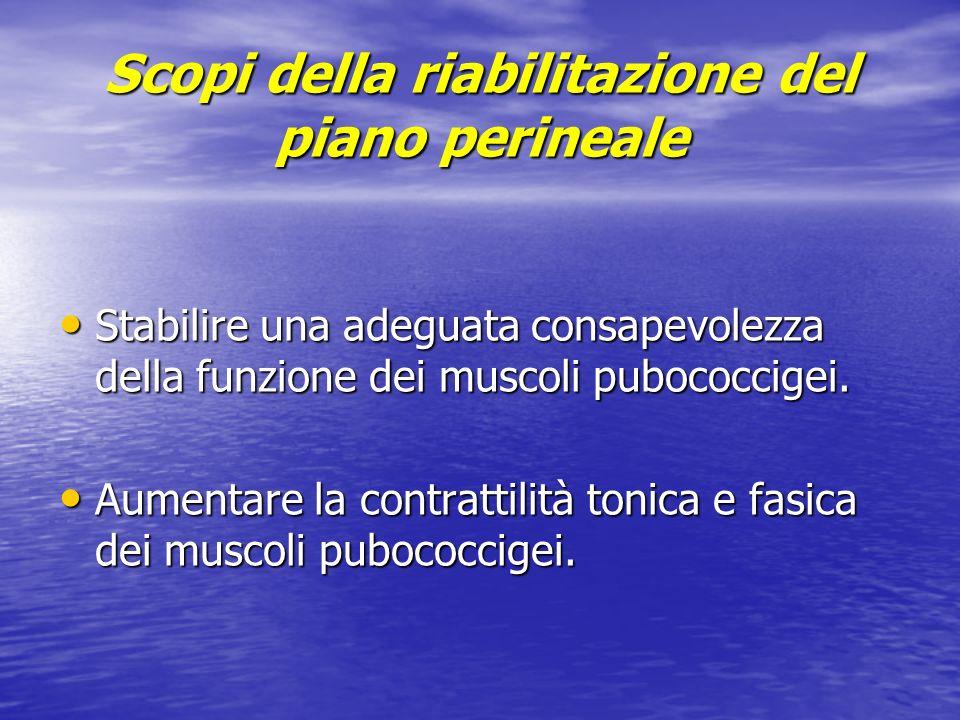 Scopi della riabilitazione del piano perineale Stabilire una adeguata consapevolezza della funzione dei muscoli pubococcigei. Stabilire una adeguata c
