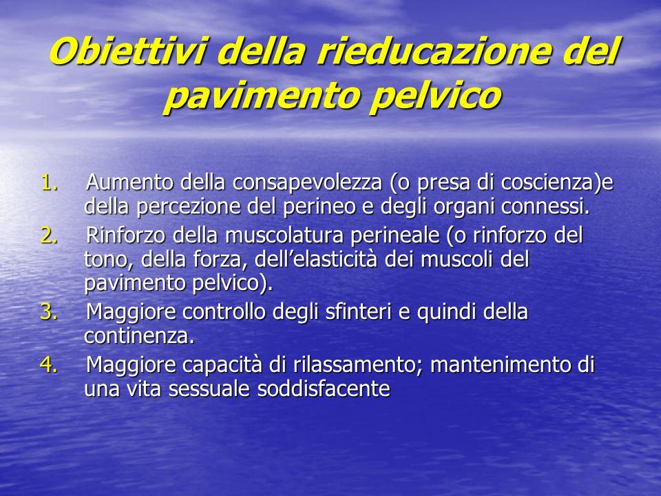 Obiettivi della rieducazione del pavimento pelvico 1. Aumento della consapevolezza (o presa di coscienza)e della percezione del perineo e degli organi