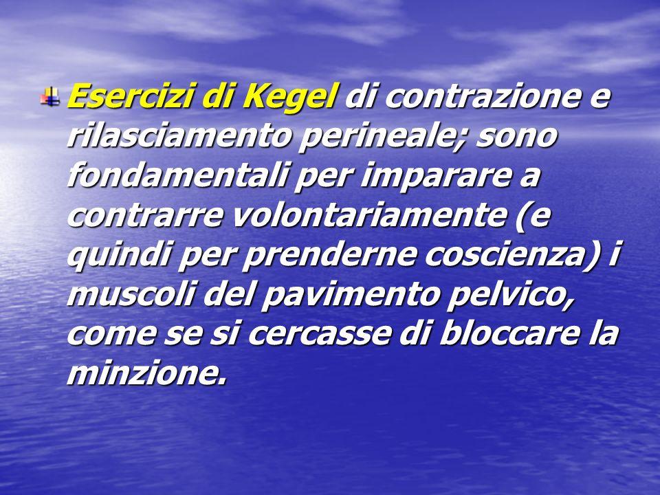 Esercizi di Kegel di contrazione e rilasciamento perineale; sono fondamentali per imparare a contrarre volontariamente (e quindi per prenderne coscien