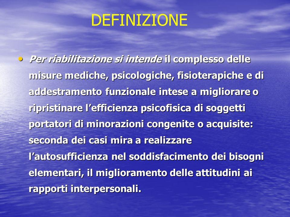 Per riabilitazione si intende il complesso delle misure mediche, psicologiche, fisioterapiche e di addestramento funzionale intese a migliorare o ripr