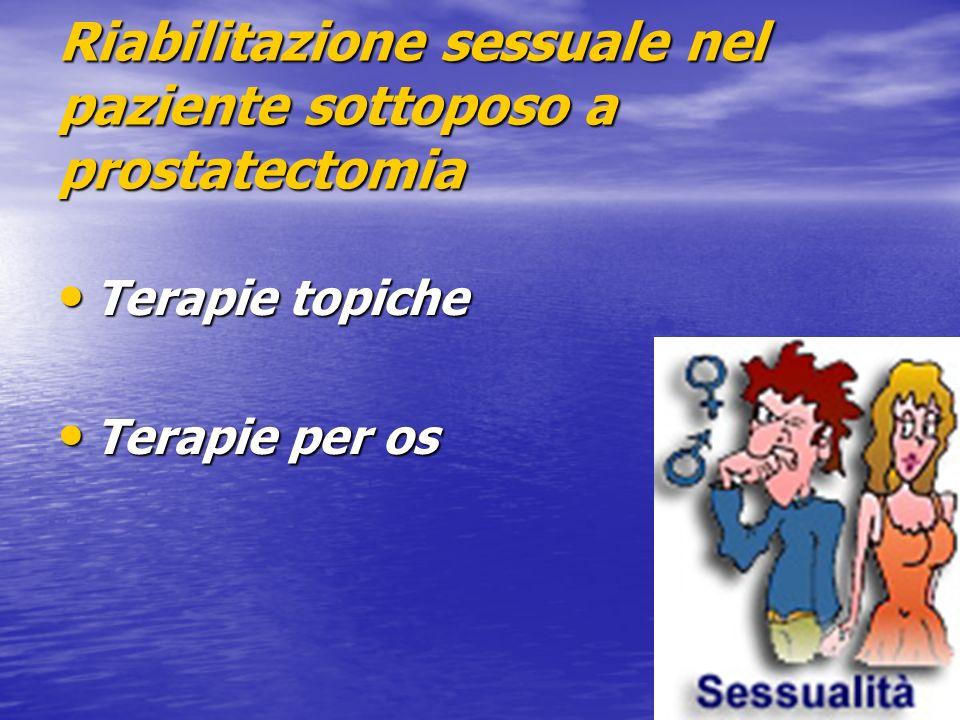 Riabilitazione sessuale nel paziente sottoposo a prostatectomia Terapie topiche Terapie topiche Terapie per os Terapie per os