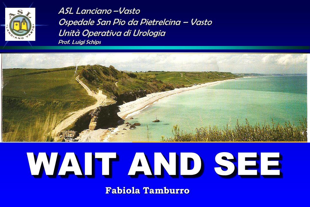 WAIT AND SEE ASL Lanciano –Vasto Ospedale San Pio da Pietrelcina – Vasto Unità Operativa di Urologia Prof. Luigi Schips Fabiola Tamburro