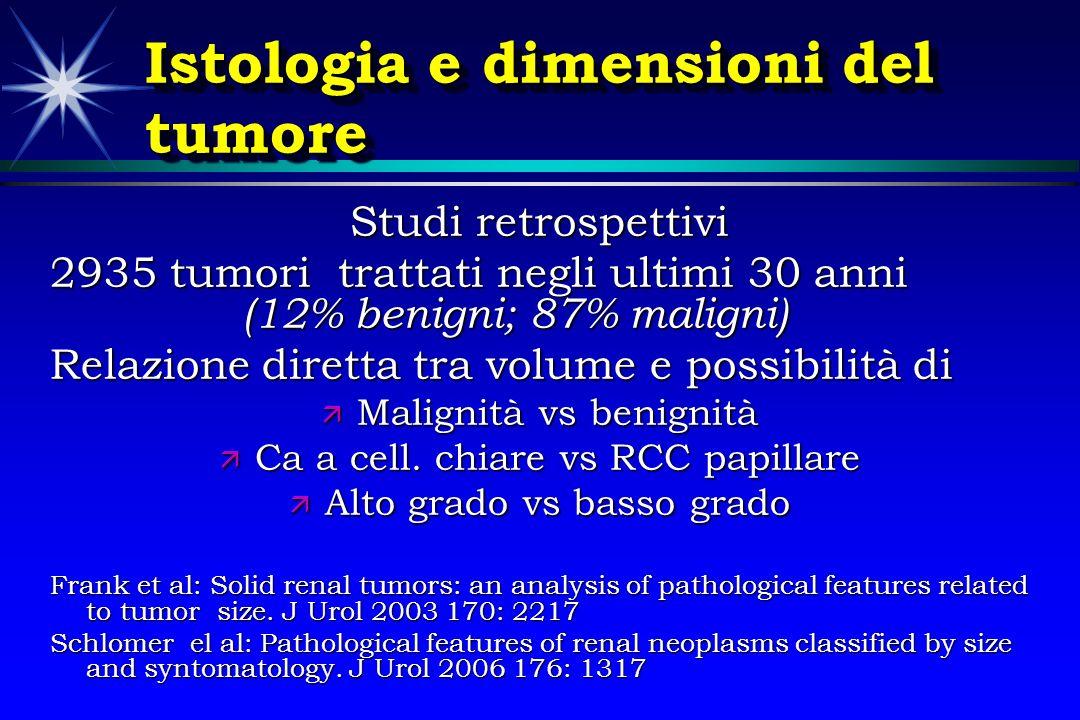 Istologia e dimensioni del tumore Studi retrospettivi 2935 tumori trattati negli ultimi 30 anni (12% benigni; 87% maligni) Relazione diretta tra volum