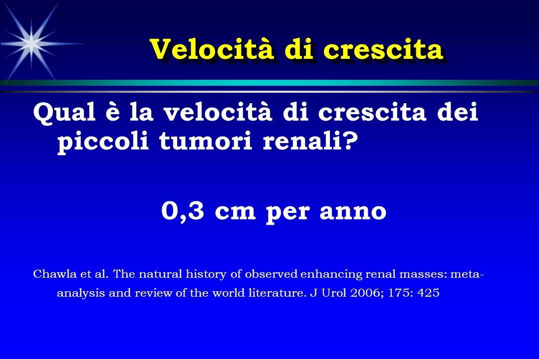 Velocità di crescita Qual è la velocità di crescita dei piccoli tumori renali? 0,3 cm per anno Chawla et al. The natural history of observed enhancing