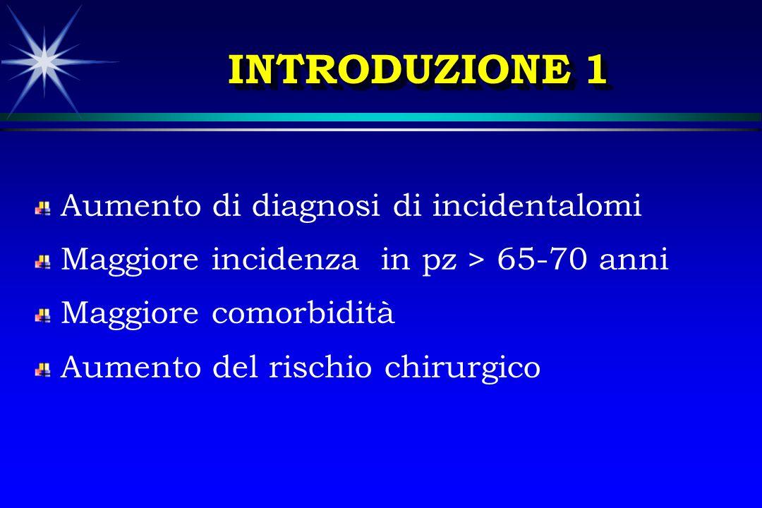 INTRODUZIONE 1 Aumento di diagnosi di incidentalomi Maggiore incidenza in pz > 65-70 anni Maggiore comorbidità Aumento del rischio chirurgico