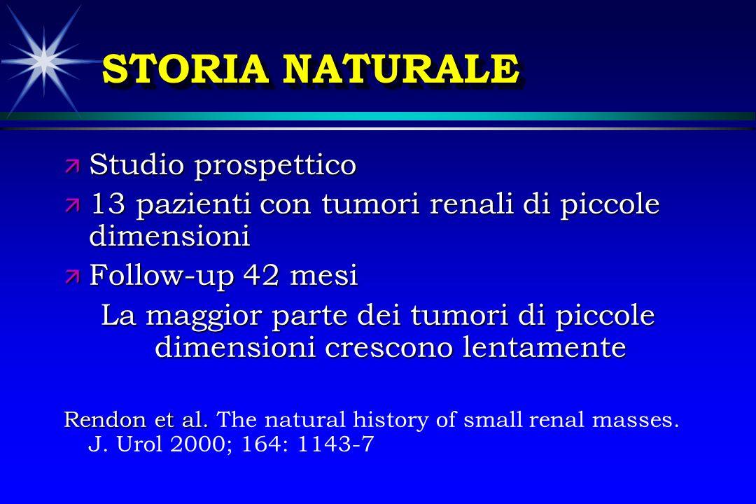 STORIA NATURALE ä Studio prospettico ä 13 pazienti con tumori renali di piccole dimensioni ä Follow-up 42 mesi La maggior parte dei tumori di piccole