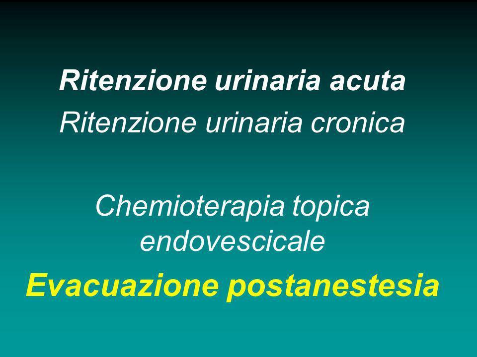 Ritenzione urinaria acuta Ritenzione urinaria cronica Chemioterapia topica endovescicale Evacuazione postanestesia