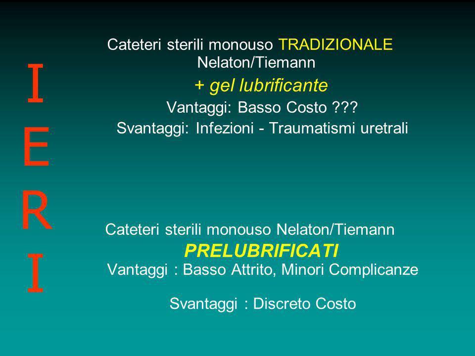Cateteri sterili monouso TRADIZIONALE Nelaton/Tiemann + gel lubrificante Vantaggi: Basso Costo ??? Svantaggi: Infezioni - Traumatismi uretrali Cateter