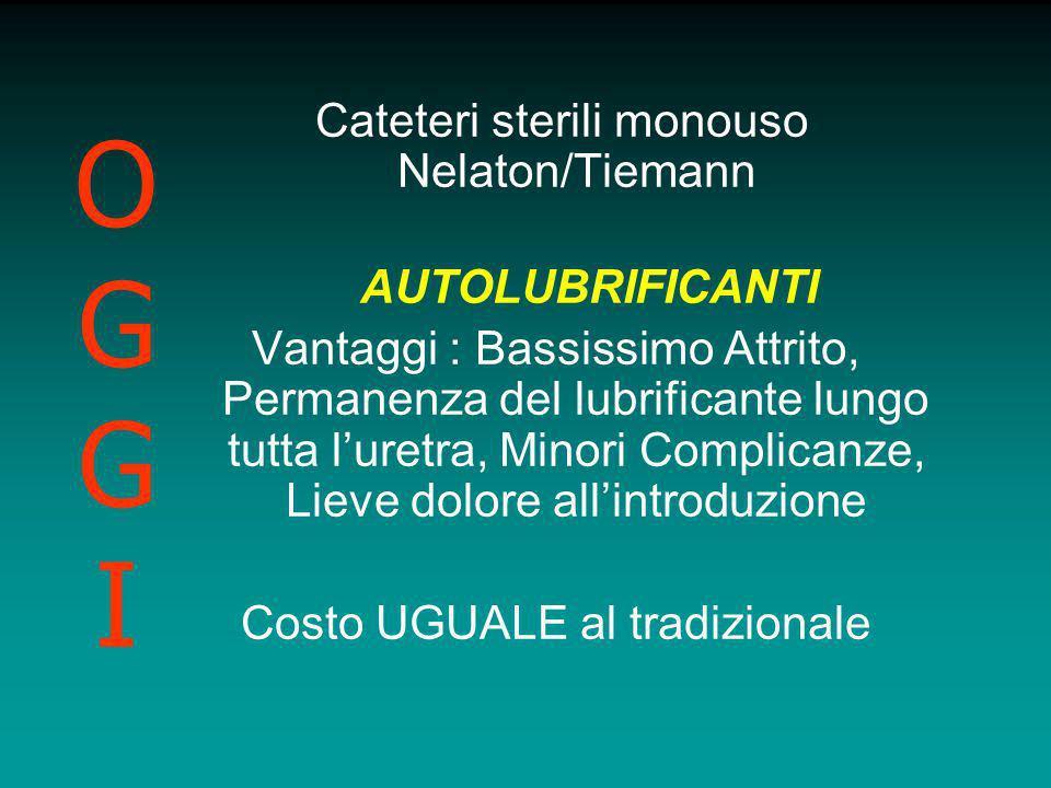 Cateteri sterili monouso Nelaton/Tiemann AUTOLUBRIFICANTI Vantaggi : Bassissimo Attrito, Permanenza del lubrificante lungo tutta luretra, Minori Compl
