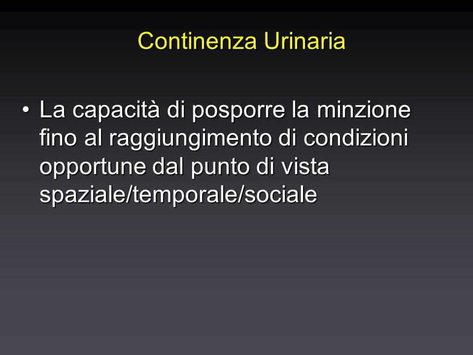 Continenza Urinaria La capacità di posporre la minzione fino al raggiungimento di condizioni opportune dal punto di vista spaziale/temporale/socialeLa capacità di posporre la minzione fino al raggiungimento di condizioni opportune dal punto di vista spaziale/temporale/sociale