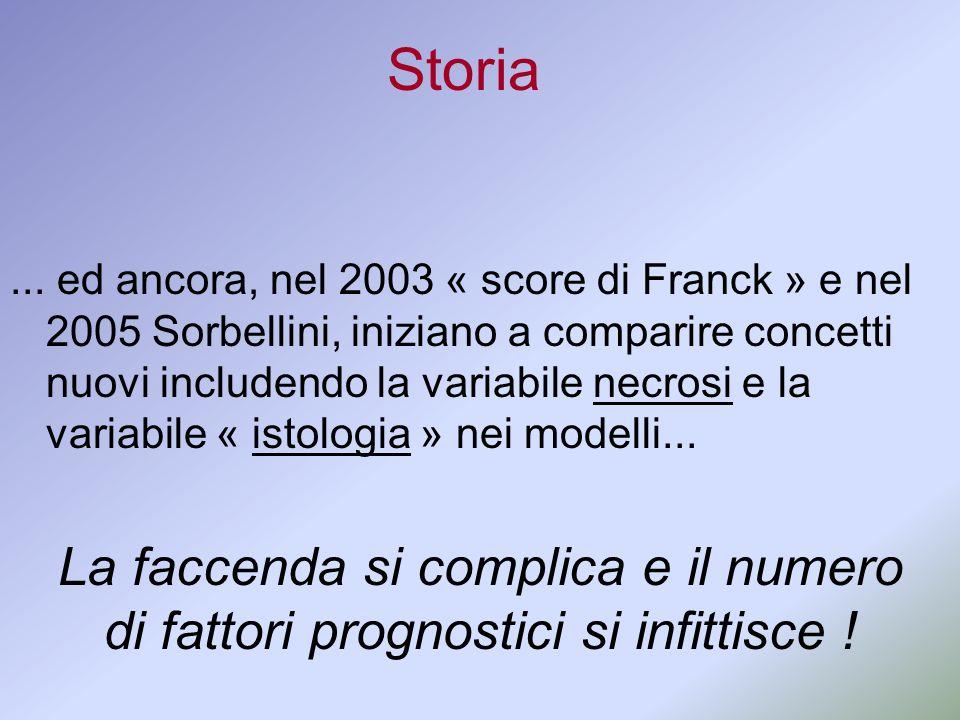 Storia... ed ancora, nel 2003 « score di Franck » e nel 2005 Sorbellini, iniziano a comparire concetti nuovi includendo la variabile necrosi e la vari
