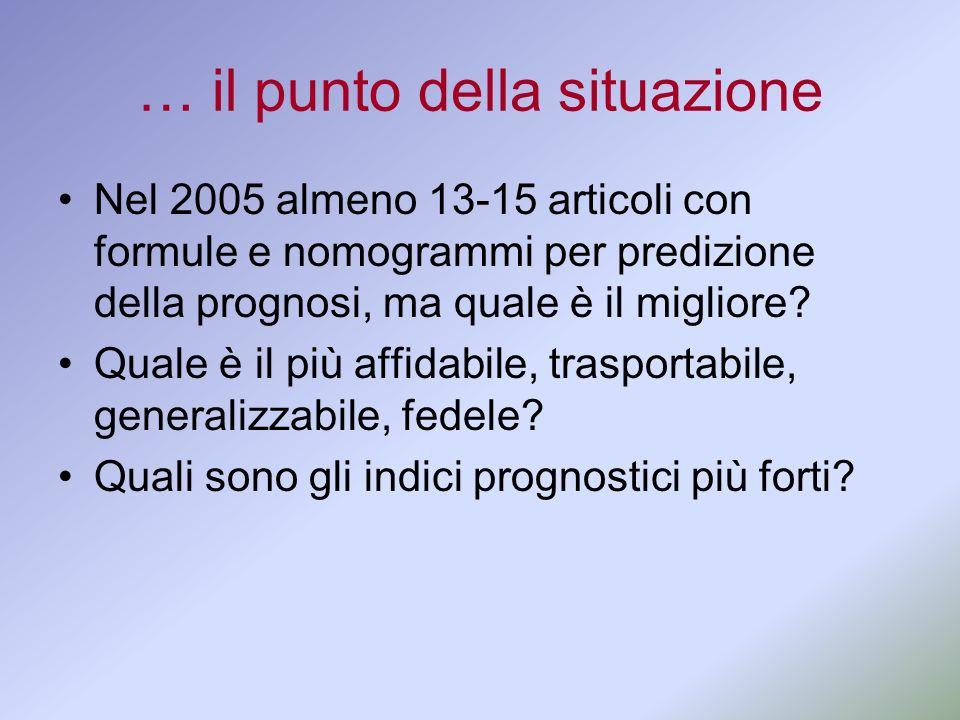 … il punto della situazione Nel 2005 almeno 13-15 articoli con formule e nomogrammi per predizione della prognosi, ma quale è il migliore? Quale è il
