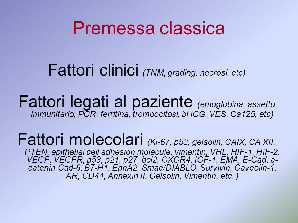 Premessa classica Fattori clinici (TNM, grading, necrosi, etc) Fattori legati al paziente (emoglobina, assetto immunitario, PCR, ferritina, trombocito