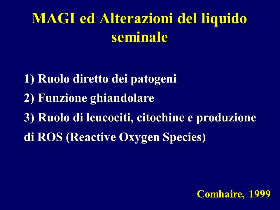 MAGI ed Alterazioni del liquido seminale Comhaire, 1999 1)Ruolo diretto dei patogeni 2)Funzione ghiandolare 3)Ruolo di leucociti, citochine e produzio