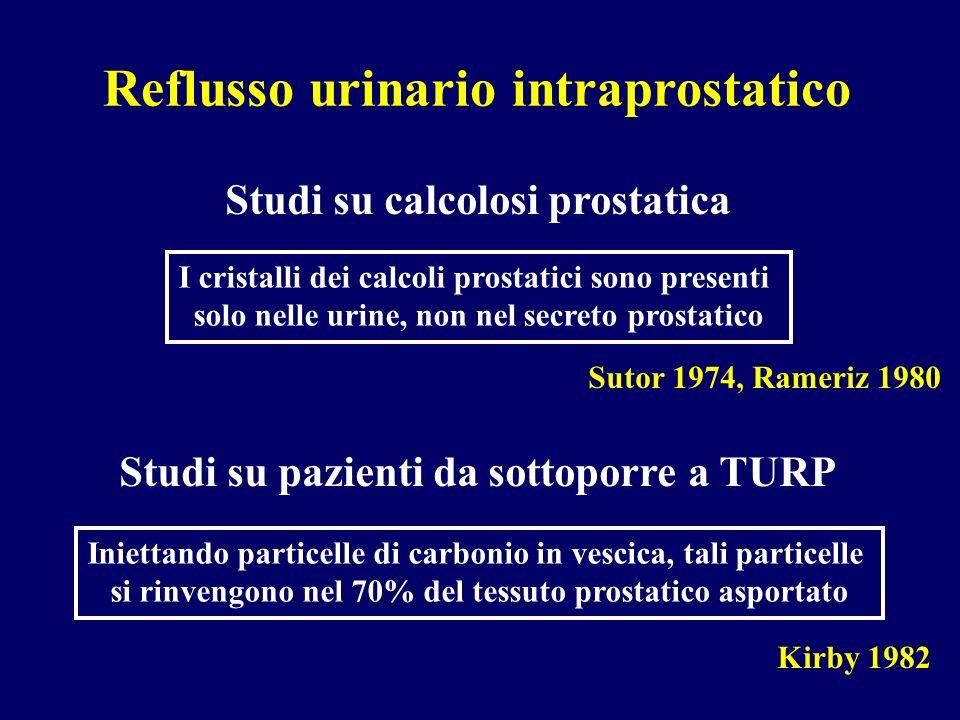 I cristalli dei calcoli prostatici sono presenti solo nelle urine, non nel secreto prostatico Studi su calcolosi prostatica Sutor 1974, Rameriz 1980 I